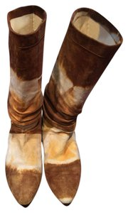 Brian Atwood Tie Dye Batik Suede Slouchy brown, gold and white Boots