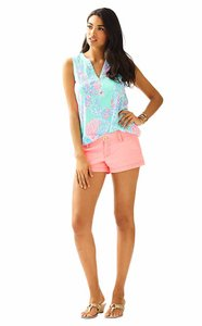 Lilly Pulitzer Smocking Gold Buttons Resort 100% Cotton Sleeveless Top MInty Fresh Fansea