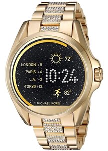 Michael Kors Kors Access Bradshaw gold-tone-and-pave display smartwatch.
