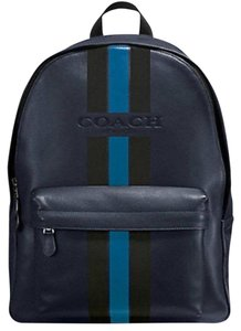 Coach Leather Rare Men's Striped Travel Backpack