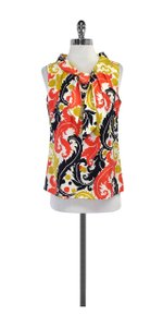 MILLY Multi Color Print Silk Top