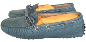 Tod's Python Snakeskin Snake Drivers Driving Loafers Ballerina Blue Flats
