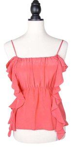 Ecote Silk Ruffle Camisole Top coral pink
