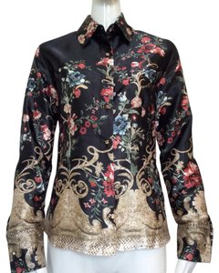 Roberto Cavalli Top multicolored/floral – stitched gold bell design.