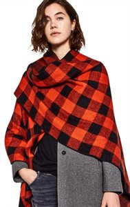Zara Plaid Check Wrap Scarf Cape