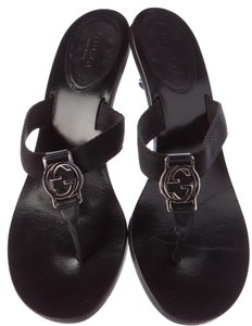 Gucci Embellished Gg Horsebit Silver Hardware Black, Silver Sandals