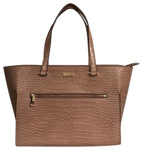 Kate Spade Leather New/nwt Croc/gator Exotic Designer Tote in Rosy Beige