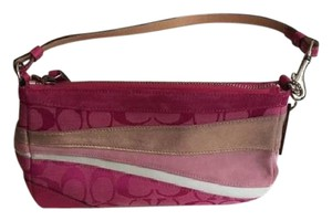 Coach Leather Striped Metallic Valentines Wristlet in Pink