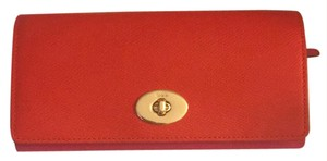 Coach Smooth Leather Turnlock Slim Envelope Wallet in Dahlia - F53890 IMDUL