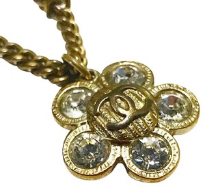 Chanel Gold Plated Camilla Crystal Pendant Necklace