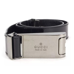 Gucci Logo Gunmetal Sliding Size Adjustable Belt
