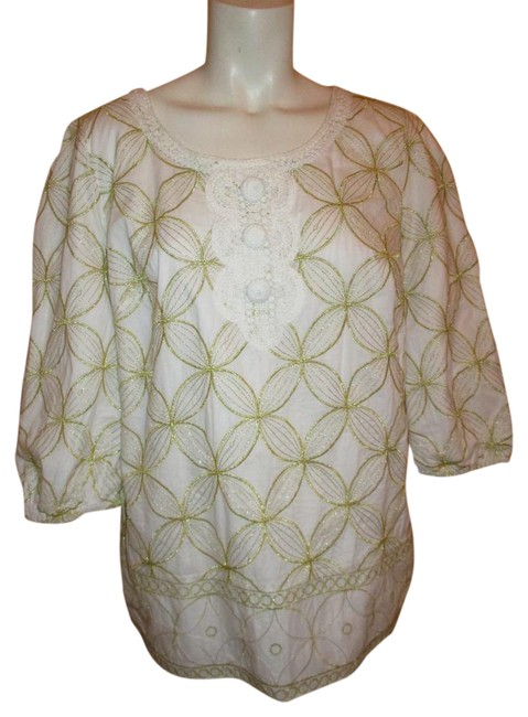 Item - White & Gold Embroidered Cotton Tunic Size 8 (M)