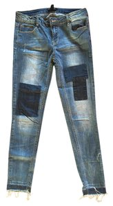 Forever 21 Patches Skinny Distressed Cutoff Skinny Jeans-Medium Wash