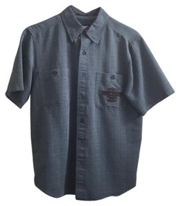Harley Davidson Button Down Shirt Blue