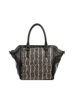 Linea Pelle Leather Python Tote Couture Satchel in Black