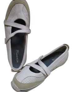 Sperry Closure Leather Upper White & Beige Top Sider Velcro Flats