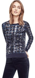 Ann Taylor Sequin Blue Silver Sweater