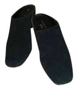 Anne Klein Suede Wedge Slip On Black Mules