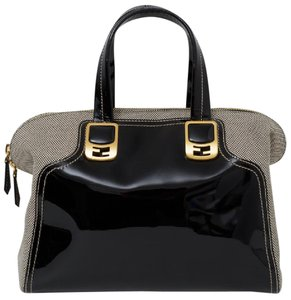 Fendi Satchel in Black with ivory and gold details