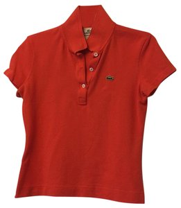 Lacoste Orange Polo Country Club Preppy Top Volcanic orange