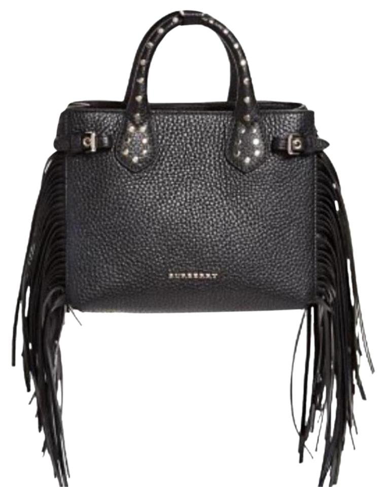 4e79b735f89 Burberry Banner Studded Tote with Fringe Black Leather Cross Body Bag