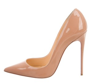 Christian Louboutin Patent Leather Pigalle Pointed Toe So Kate Hot Chick Beige Pumps