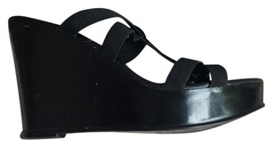Charles David black patent leather Wedges