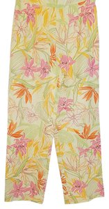 Talbots Petits Cropped Pants Silk Blend Floral Capris Multi Color