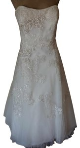 Oleg Cassini Oleg Cassini Strapless Tulle Embellished Tea Length Gown Wedding Dress