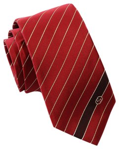 Gucci GUCCI 408866 Interlocking G Woven Silk Tie, Red Flame