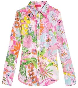 Lilly Pulitzer Floral Lilly For Target Colorful Button Down Shirt Multi-Color