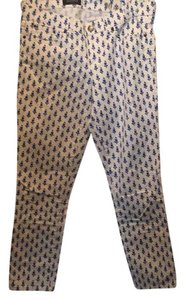 J.Crew Skinny Pants white with blue pattern