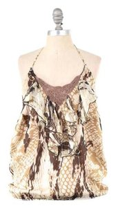 Hale Bob Silk Chiffon Halter Top Brown