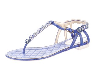 Chanel Silver Hardware Chain Quilted Interlocking Cc Camellia Blue, White Sandals