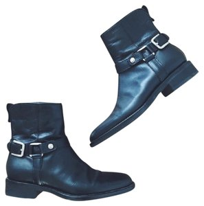 Geox Leather Ankle Harness Black Boots