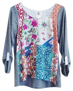Anthropologie One September Roll Tab Patchwork Floral T Shirt