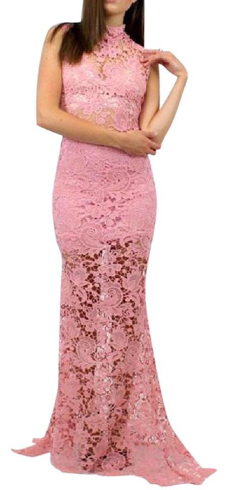 Pink Floral Lace Gown Embroidered Eyelet Boho Xs Long Casual Maxi ...