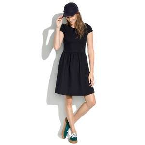 Madewell short dress Black Ponte Structured Cap Sleeve on Tradesy