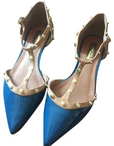 Halogen Studded Pointy Toes Patent Blue Patent Flats