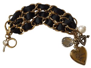 Betsey Johnson Gold Ribbon Charm Bracelet