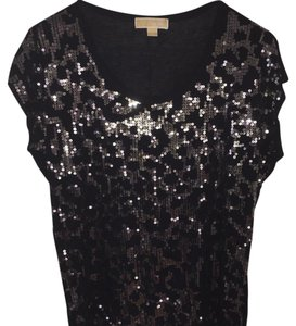 Michael Kors Sequin Party T Shirt Black Sequined