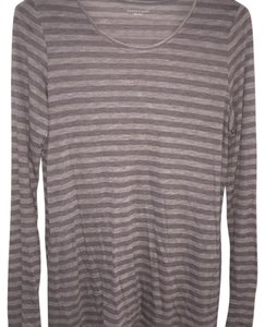 Eileen Fisher Spring Lightweight Cotton Striped T Shirt Gray