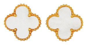 Van Cleef & Arpels Vintage Alhambra Mother of Pearl Yellow Gold Earrings 20mm