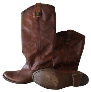 Frye Melissa Button Leather Extended Calf Brown Boots