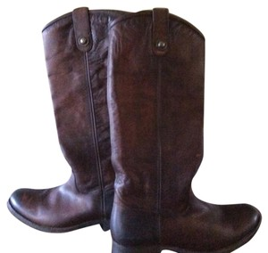 Frye Melissa Button Leather Brown Boots