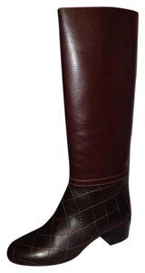 Chanel Cc Quilted Brown Boots