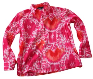 Jones New York Bright Pattern Lightweight Colorful Festive Button Down Shirt magenta, orange, pink, white