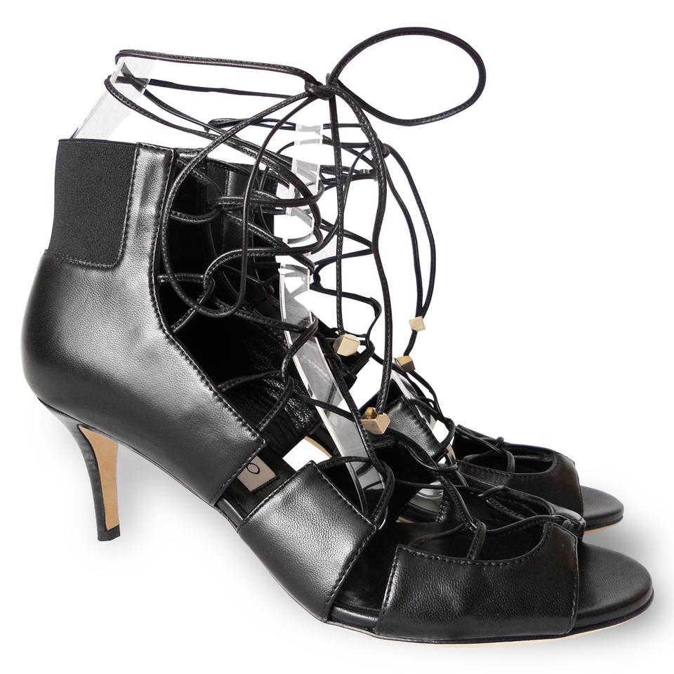 08c9e7366a8 ... Jimmy Choo Bootie Strappy Tie Leather Black Sandals .