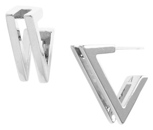 Vince Camuto New Very Vince Double V Modern Hoop Earrings, Silver