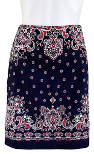 Talbots Stretch Canvas Skirt Navy blue and red